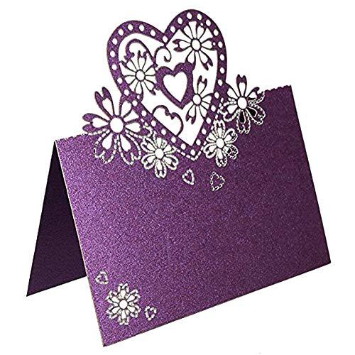 (50pcs/Pack Love Heart Laser Cut Wedding Party Table Name Place Cards Favor Decor Wedding Decoration)