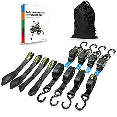 Motorcycle Ratchet Tie Down Straps 4 Pack - FREE 4 Soft Loops, Bag, Ebook with Heavy Duty 1700Lb 15Ft Black Straps - Secure & Move Your Kayak, Furniture, Cargo on Trailer, Car Rack, Pickup Truck Bed