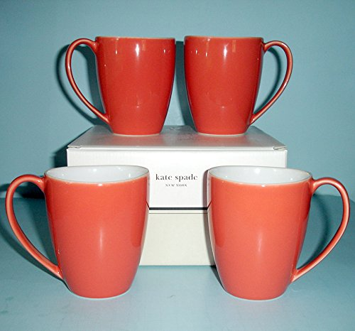 mer Circle Mug Set of 4 Coral Color New In Box (Kate Spade Summer Circle)