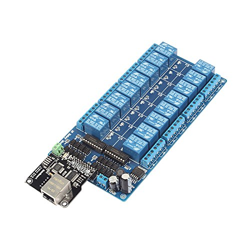 SainSmart Web TCP/IP 10A Relay Remote Control Kit with Network Web Server 16 Channels Relay Ethernet Controller Remote Control Board + 16-CH Relay Module, Arduino Compatible, LAN WAN WEB Server (Networks Web)