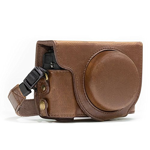Megagear MG764 Canon PowerShot G7 X Mark II Ever Ready Leather Camera Case and Strap, with Battery Access, Dark Brown