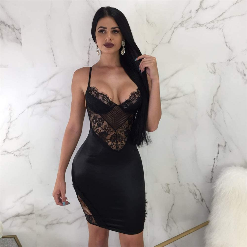 Women Summer V-Neck Spaghetti Straps Lace Backless Party Club Beach Mini Dresses
