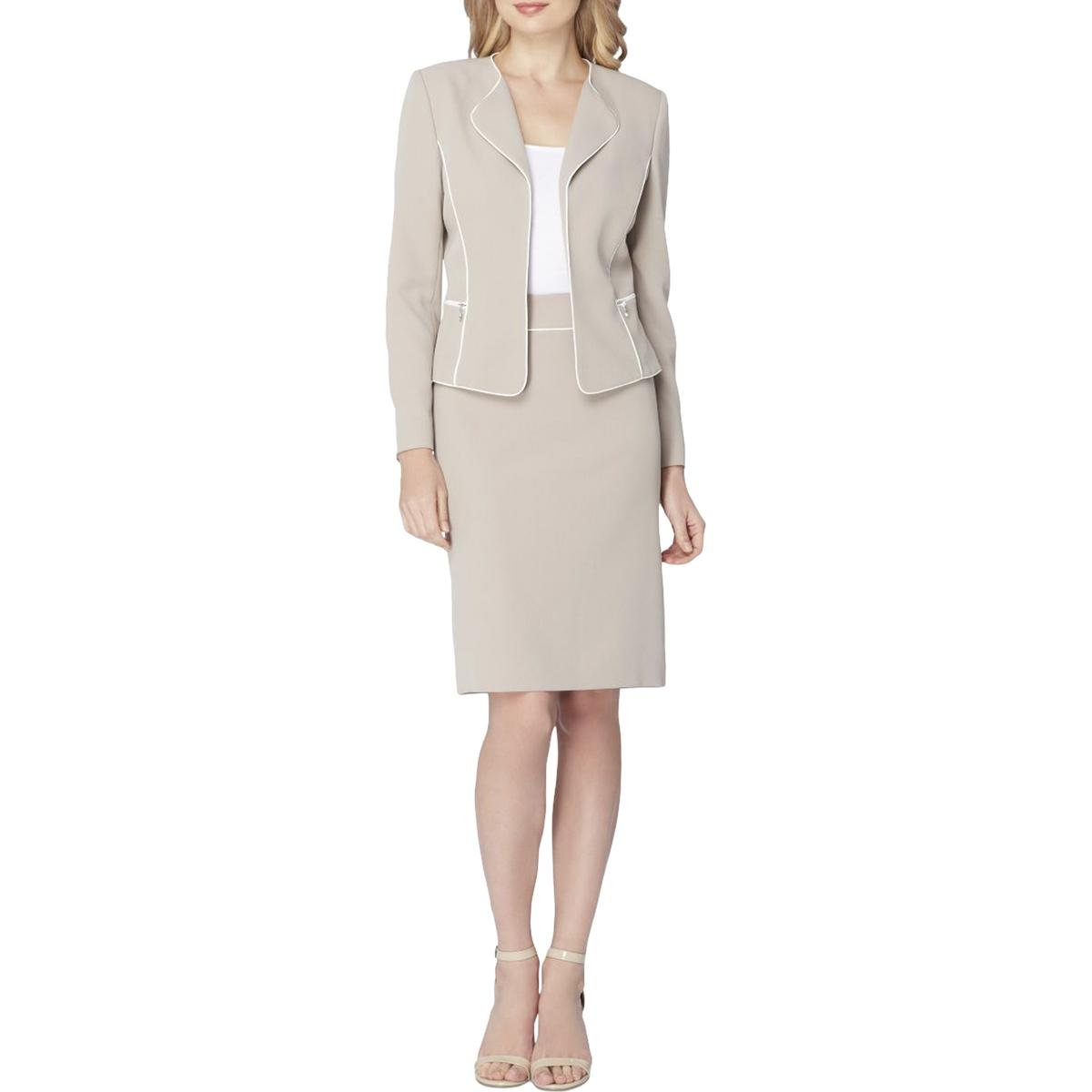 Tahari by Arthur S. Levine Women's Crepe Skirt Suit with Contrast Piping, Beige/Ivory, 18