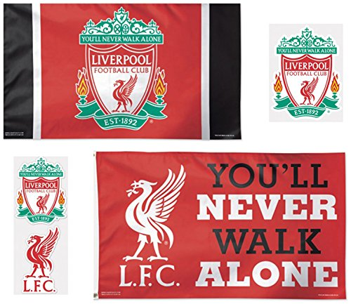 WinCraft Liverpool FC 5 Item Combo Pack 2 Deluxe Flags 3x5 f