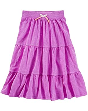 Girls Tiered Neon Maxi Skirt, Purple 9m