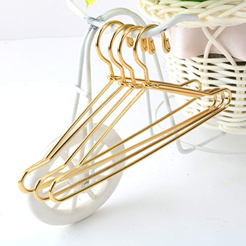 Shoppingmoon 10pcs Cute Dollhouse Clothes Hang Miniature Wire Clothes Stand (Gold)