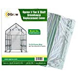 OGrow 3 Tier 6 Shelf Greenhouse Replacement Cover, 28.7 x 56.2 x 76.8-Inch