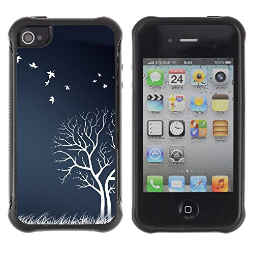 Apple Iphone 4 / 4S - White Tree Birds Field Nature Artwork Autumn