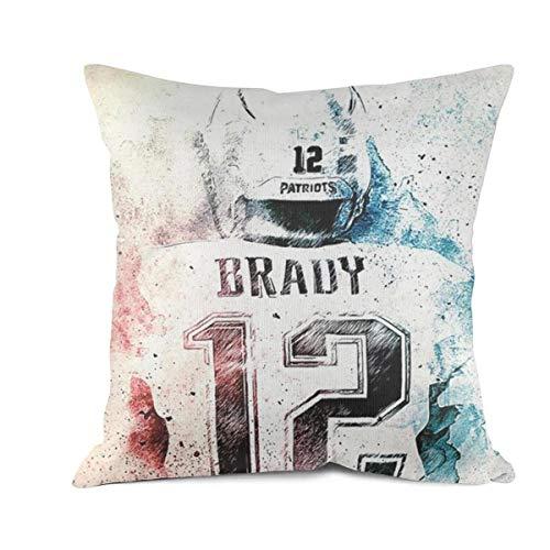 Bombline 18x18 Inch Square Throw Pillow Cushion Covers Cotton Sofa Bedroom Car Tom-Brady-New-England-Patriots-#12- Sofa Cushion Pillowcases