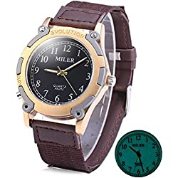 Men's Wrist Watches,TOPCHANCES Men's Boy's Junior Quartz Watch Round Dial with Luminous Display Leather Band -A8262 (Miler Black)