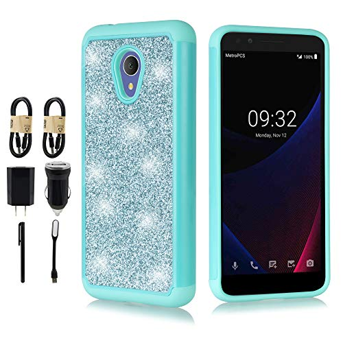 for Alcatel 1X Evolve,Alcatel IdealXTRA Case (5059R), Alcatel TCL LX (A502DL) Case, Luxury Glitter Bling Hybrid Dual Layer Protection Shockproof Case Cover [Accessory Bundle] (Teal)
