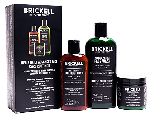 Brickell Men's Daily Advanced Face Care Routine II, Activated Charcoal Facial Cleanser, Face Scrub, Face Moisturizer Lotion, Natural and Organic, Unscented