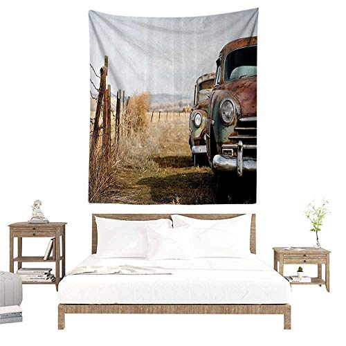 Home Decor Tapestry,Old Cars Decorations Collection,Vintage Classic Abandoned Rusty Wyoming Cars Antique Pictures,White Beige Brown W51 x L60 inch Blanket Wall Art Tapestry