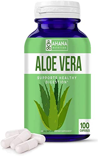 Aloe Vera Capsules by Ahana Nutrition – Pure Aloe Vera Extract Pills to Blood Sugar Support, Digestive Support Serve As an Anti-Inflammatory 450mg – 100 Easy to Swallow Capsules
