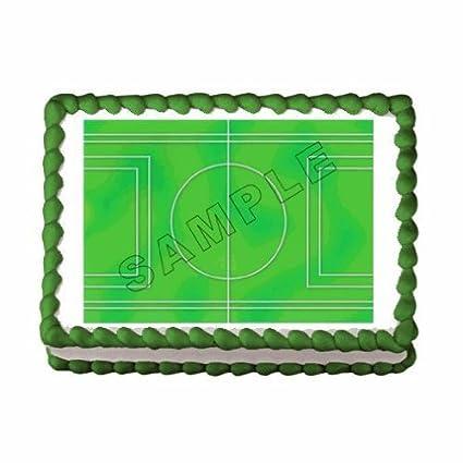 Phenomenal 1 4 Sheet Soccer Field Birthday Edible Cake Cupcake Topper Funny Birthday Cards Online Aboleapandamsfinfo