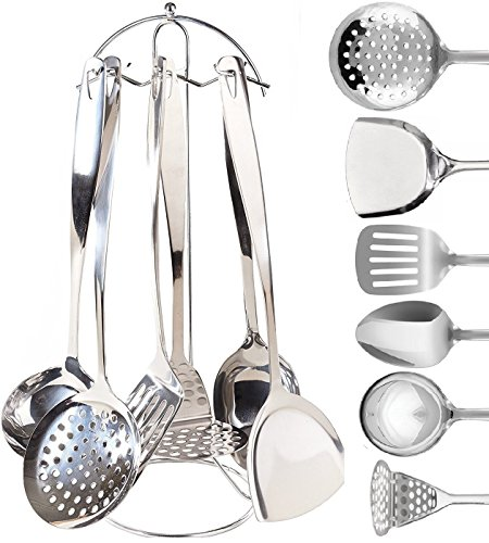 (Stainless Steel Cooking & Serving Utensil Set - 7 Piece Kitchen Utensils Set | Countertop Utensil Holder | Spoon, Spatula, Skimmer, Soup Ladle, Potato Masher, Slotted Spatula)