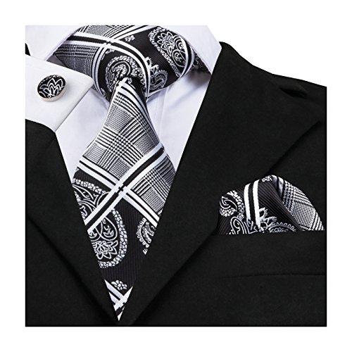 Barry.Wang+Formal+Ties+Black+Grey+Neckties+for+Men+Set+Paisley+Style