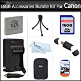 16GB Accessories Kit For Canon PowerShot ELPH ELPH 330 HS, 100 HS, ELPH 300 HS, ELPH 310 HS Digital Camera Includes 16GB High Speed SD Memory Card + Extended (900 maH) Replacement Canon NB-4L Battery + AC/DC Charger + Case + + Screen Protectors + More