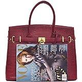 Dasein-Faux-Leather-Padlock-Structured-Briefcase-Satchel-Handbag-Tablet-iPad-Bag-Shoulder-Bag