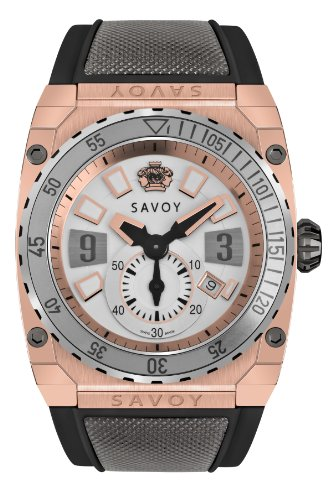 Savoy Icon Extreme - 3 Hand - Two-Tone - IP Rose Gold - Black Strap Men's Watch