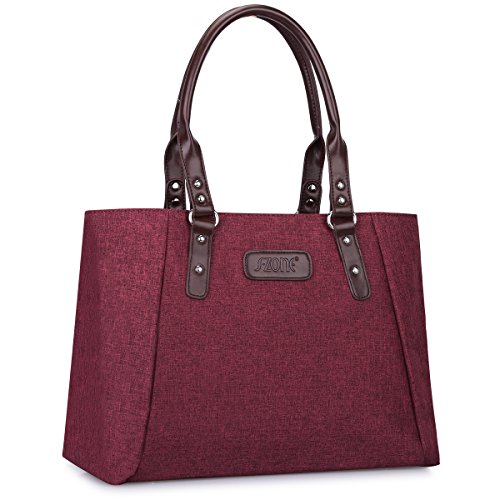 S-ZONE Women's Handbags Lightweight Large Tote Casual Work Bag (Wine Red)
