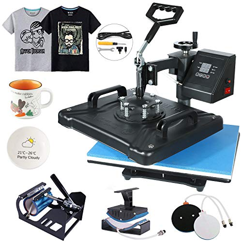 "HikeGeek 5 in 1 Heat Press Machine 12""x 15"" inch Professional Digital Transfer Sublimation Swing-Away for Hat Mug Plate Cap T-Shirt (5 in 1 Swing Away)"