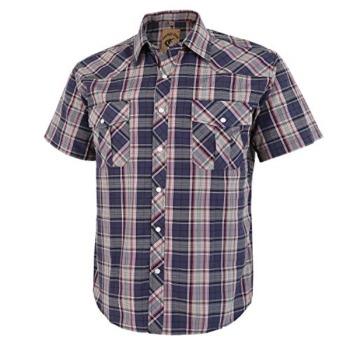 Coevals Club Men's Short Sleeve Casual Western Plaid Snap Buttons Shirt (M, 26# Gray Plaid)