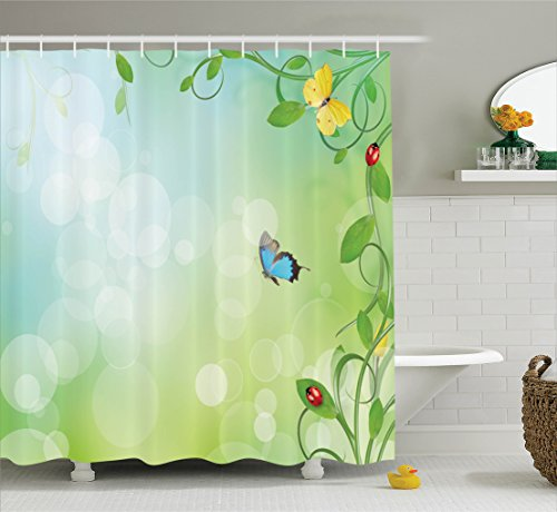 Ambesonne Ladybugs Decorations Shower Curtain Set, Spring Theme With Flowers Ladybugs And Butterflies Transformation Morph Print, Bathroom Accessories, 69W X 70L Inches, Light - Curtain Shower Ladybug