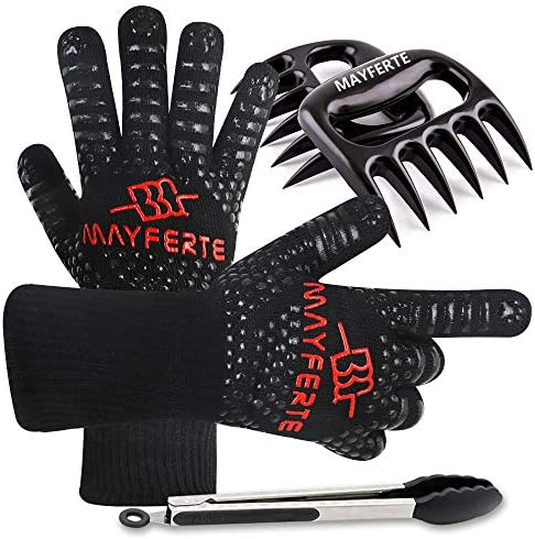 MAYFERTE BBQ Cooking Gloves Heat Resistant Glove Meat Claws Stainless Steel Cooking Tongs 3