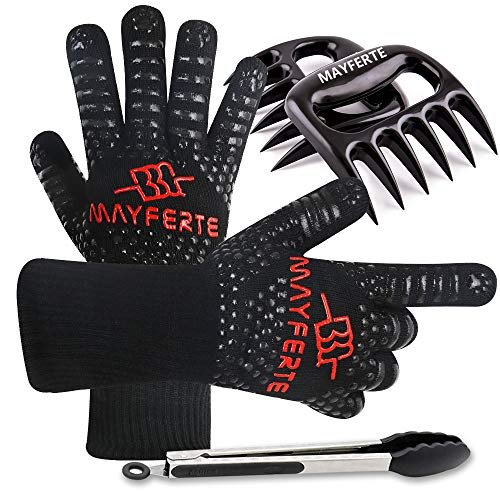 MAYFERTE BBQ Cooking Gloves Heat Resistant Glove Meat Claws & Stainless Steel Cooking Tongs (3)