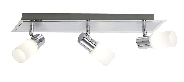 Trio-Leuchten LED-Balken Aluminium gebürstet/chrom, Glas weiß gewischt, inklusiv 2x 5W LED, Breite: 36 cm 821470205 [Energieklasse A] Glas weiß gewischt Trio Leuchten