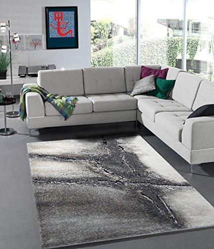 Anka Design Teppich Edler Wohnzimmer Teppich Modern Stein Optik Natur Farben - 160x230 cm - schadstofffrei - Grau Beige