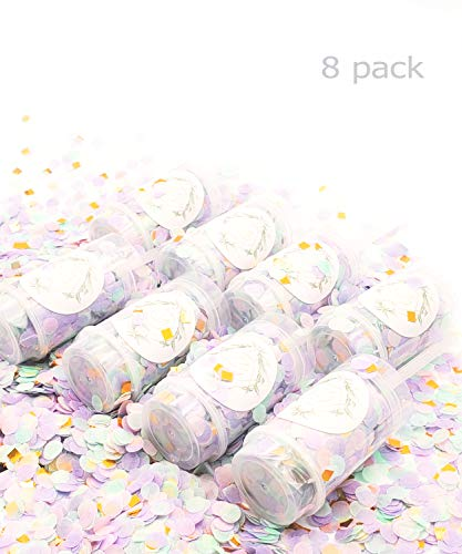 Crescendo & Co Push Up Party Confetti for Birthday Parties, Wedding Confetti, Bridal Shower, Baby Shower, Gender Reveal (Sparkling Unicorn, 8 Pack)