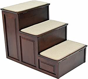 Crown Pet Products Designer Carpeted High Pet Steps for Small and Large Dogs and Cats with Storage, Espresso