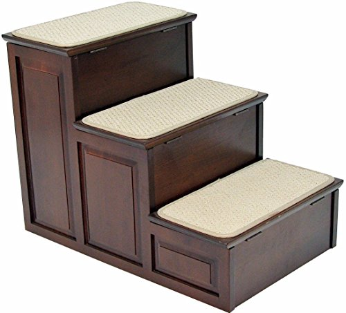 Crown Pet Products Designer Carpeted High Pet Steps for Small and Large Dogs and Cats with Storage, Espresso by Crown Pet Products