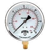 "Winters PEM Series Steel Dual Scale Economical All Purpose Pressure Gauge with Brass Internals, 0-30 psi/kpa, 4"" Dial Display, -3-2-3% Accuracy, 1/4"" NPT Bottom Mount"