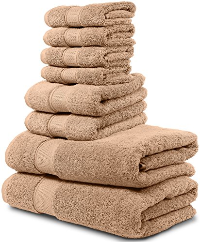 Gold Light Two Collection White (8 Piece Bath Towel Set. 2017(New Collection). 2 Bath Towels, 2 Hand Towels, 4 Washcloths. Premium Quality Turkish Towels. Super Soft, Plush and Highly Absorbent. (Towel Set - Set of 8, Sand))