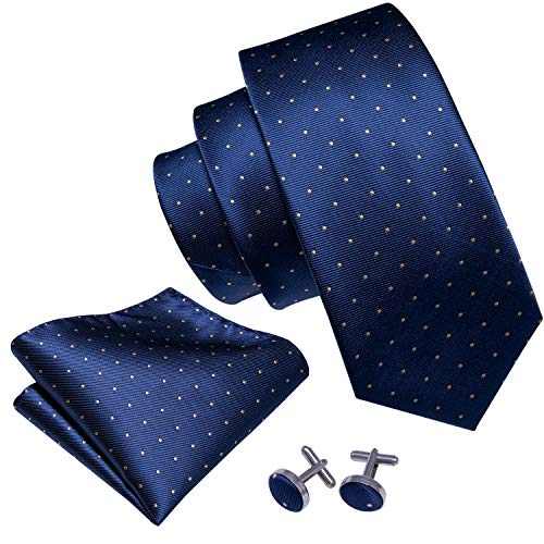 Barry.Wang Navy Blue Ties Silk Necktie and Cufflinks Fashion Men Tie Hanky Set