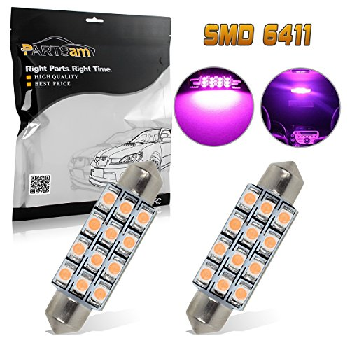 Partsam Pink Purple Car LED Lamps 42mm Festoon 12SMD Interior Dome Map Lights Bulbs 12V 561 562 578, Pack of 2pcs
