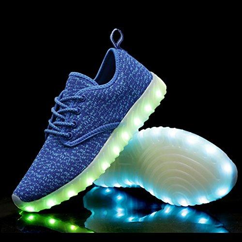 Equick Barn Ledde Lyser Skor Mode Andas Stickning Barn Tillfälliga Kör Sneakers (litet Barn / Big Kid) Blå