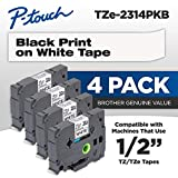 Brother Genuine P-touch, TZe-231 4 Pack Tape (TZE2314PKB) ½'(0.47') x 26.2 ft. (8m) 4-Pack Laminated P-Touch Tape, Black on White, Perfect for Indoor or Outdoor Use, Water Resistant, TZE2314PK, TZE231