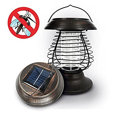 OUTXPRO LED Solar Metal Lantern with Mosquito Bug Zapper Function - 2 in 1 for Camping and Garden