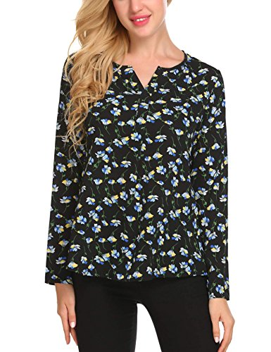 ANGVNS Women Pattern Floral Chiffon High Low Long Sleeve T-Shirt Blouse, S
