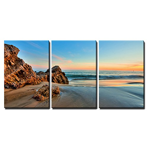 """Wall26 - 3 Piece Canvas Wall Art - Sunset at California Beach - Modern Home Decor Stretched and Framed Ready to Hang - 16\""""x24\""""x3 Panels"""