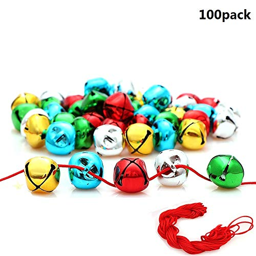Y wang 100Pcs Jingle Bells, 1 Inch Craft Bells Bulk DIY Bells Colorful Christmas Bells for Craft Festival Decoration Home Decoration(with 88ft Red Cord) (Jingle Bells On String)