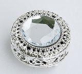 Mini Vintage Round Jewelry Decorative Trinket Box Ring box Small Metal Case 2.2 inch