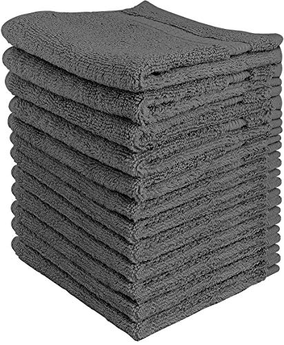 Utopia Towels Premium Washcloth Set (12 x 12 Inches, Grey) 600 GSM 100% Cotton Face Cloths, Highly Absorbent and Soft…