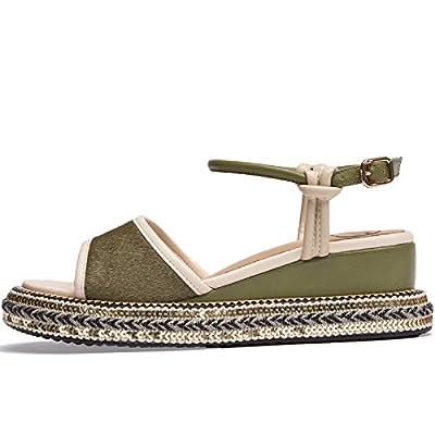 SOHOEOS Sandales pour Femmes Dames D'été En Plein Air Nouveau Dames De Mode Haute Wedge Mule Plate Forme Strappy Sandales Boucle Décontractée Romain Sandales,