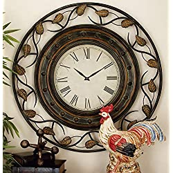Deco 79 57720 Metal Wall Clock To Track The Time, 36, Tarnished Bronze Finish