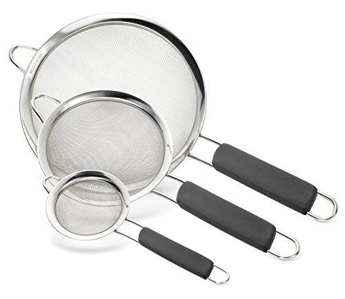 Bellemain Stainless Steel Mesh Strainers with Non-Slip Handles - Set of 3 Graduated Sizes